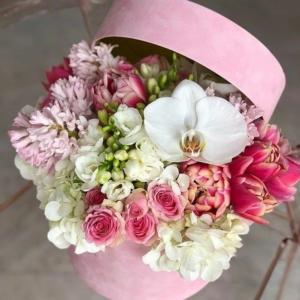 scatola fiori rosa